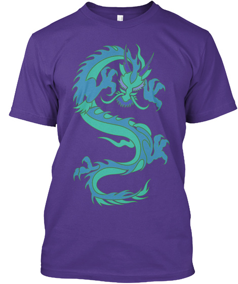 Chinese Dragon Blues T Shirt Purple T-Shirt Front