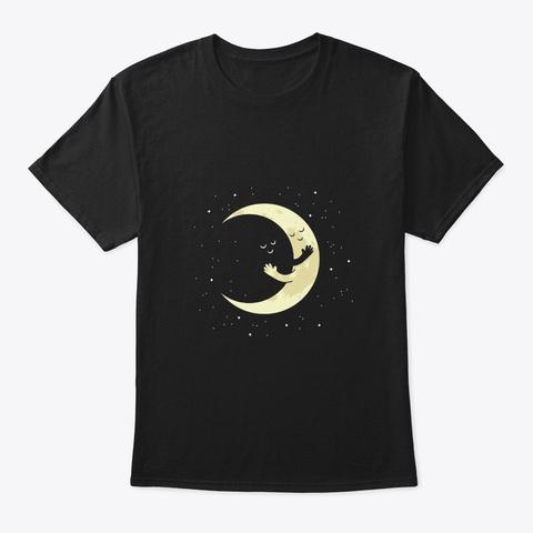 Kawaii Moon Hugging Space Black T-Shirt Front