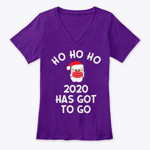 Santa Wearing Mask 2020 Saying Graphic Team Purple  T-Shirt Front