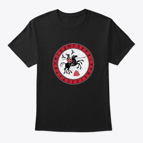 Odin On Horseback Black T-Shirt Front