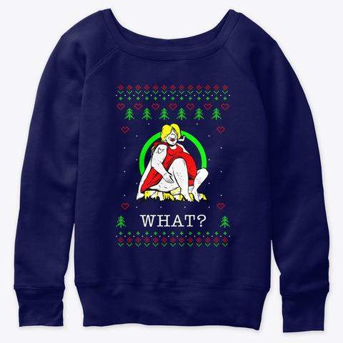 Funny Smoker Ugly Christmas Navy  T-Shirt Front