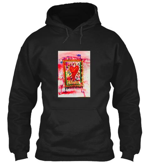 Pink Red Heart Original Art 2018 Love Pr Black T-Shirt Front