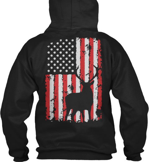Deer Hunting Usa Flag Black T-Shirt Back