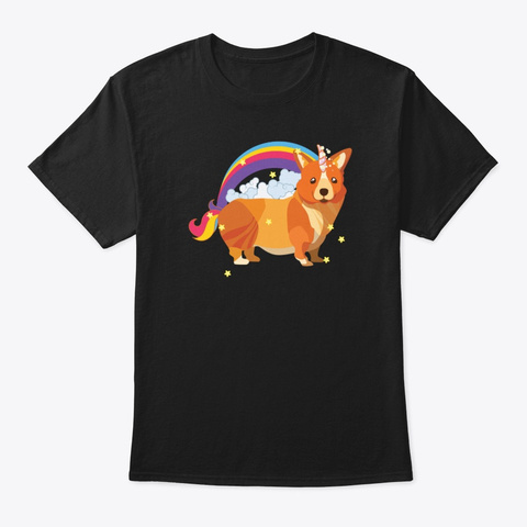 Unicorn Corgi Rainbow Doodle Black T-Shirt Front