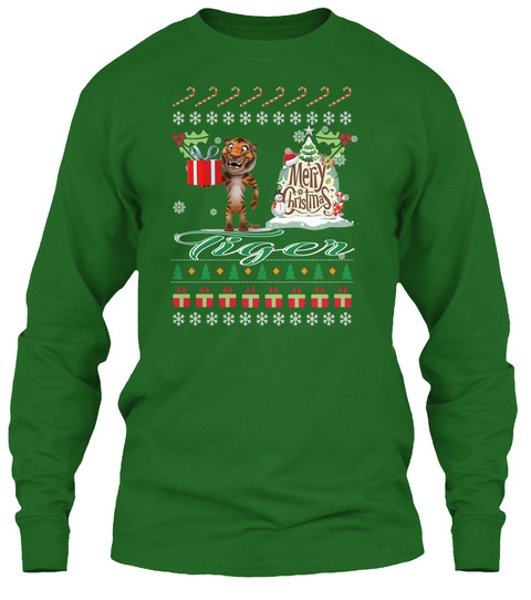 Tiger Ugly Christmas Sweater Irish Green T-Shirt Front