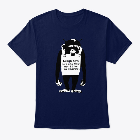 Banksy Laugh Now Monkey Navy T-Shirt Front