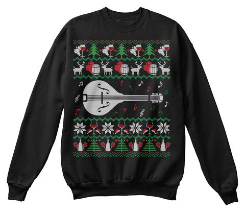 Wine Mandolin Ugly Christmas Sweater Tee Jet Black T-Shirt Front