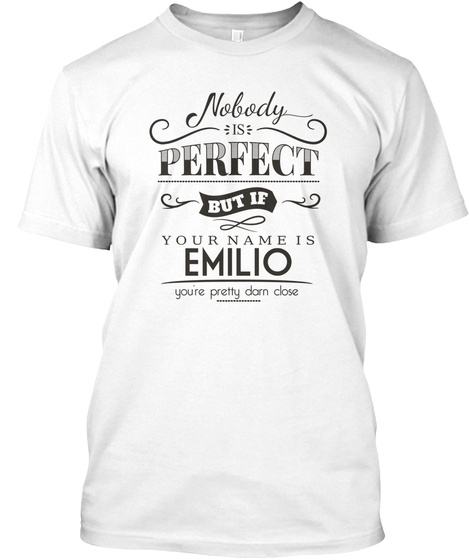 Emilio Nobody Is Perfect White T-Shirt Front