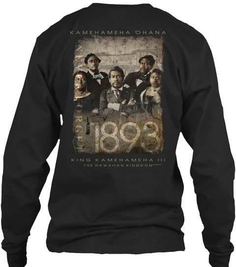 1893 King Kamehameha Black Long Sleeve T-Shirt Back