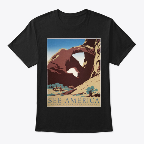 See America   Vintage Viajes Black T-Shirt Front