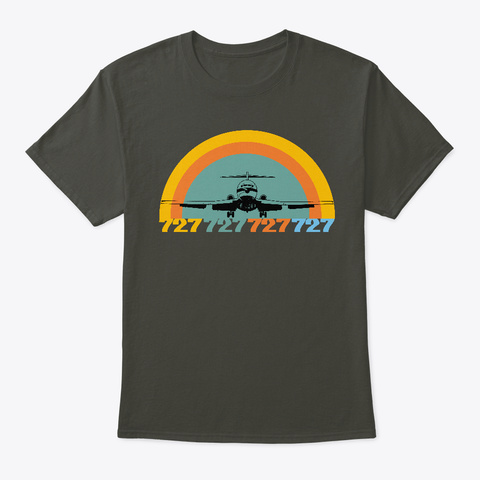 Retro Airline Airplane Take Off Smoke Gray T-Shirt Front