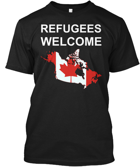 Refugees Welcome Black T-Shirt Front