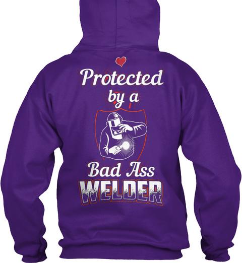 Welder's Wife   Welder's Girlfriend ... Purple T-Shirt Back
