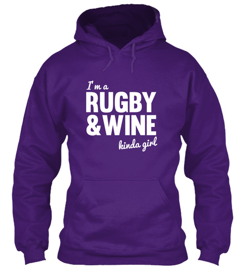 I'm A Rugby & Wine Kinda Girl Purple T-Shirt Front