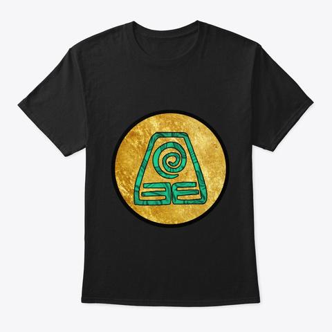 Earth Bending Symbol Black T-Shirt Front