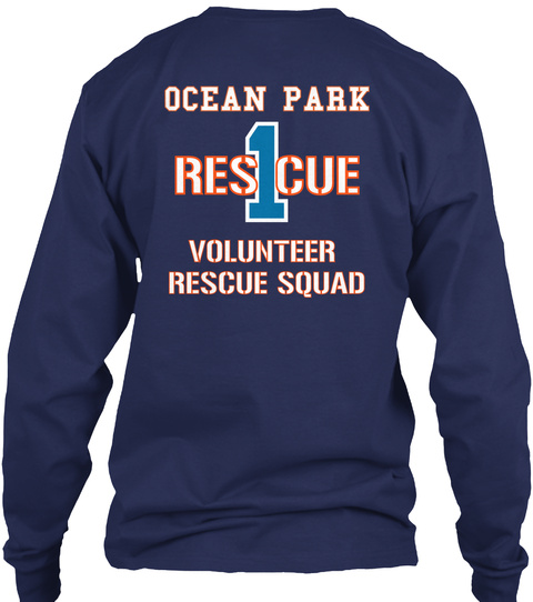 Ocean Park Rescue 1 Volunteer Rescue Squad Navy T-Shirt Back
