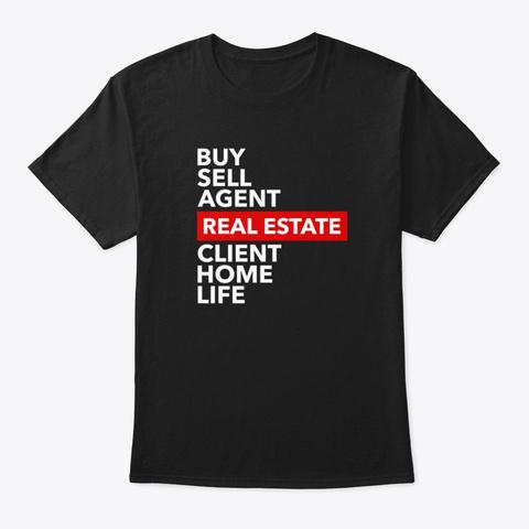 Real Estate Keywords Black T-Shirt Front