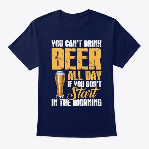 Start In The Morning Drinking Navy Camiseta Front