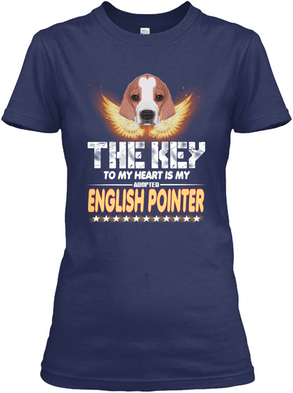 English Pointer Key In My Heart Navy T-Shirt Front