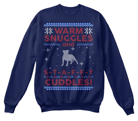Staffy Ugly Christmas Sweater. Navy  T-Shirt Front