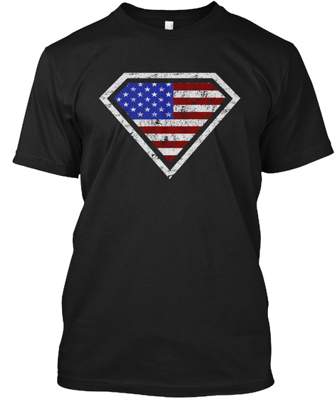 Real American Superheroes! Black T-Shirt Front