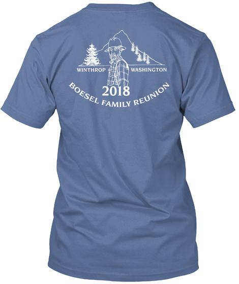 Swoosh Front/Traditional Back White Logo Denim Blue T-Shirt Back