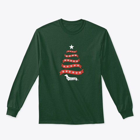 Gdr's Christmas Paws By Kelli #2 Forest Green T-Shirt Front