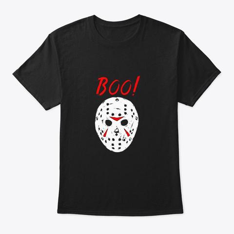 Scary Creepy Boo Shirt Halloween Costume Black T-Shirt Front