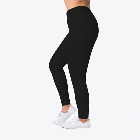 Women's Logo Design Leggings Black T-Shirt Left