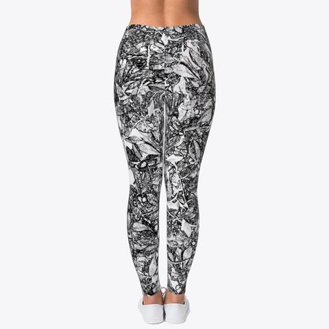 Leaf Scratch Printed Leggings For Women Standard T-Shirt Back