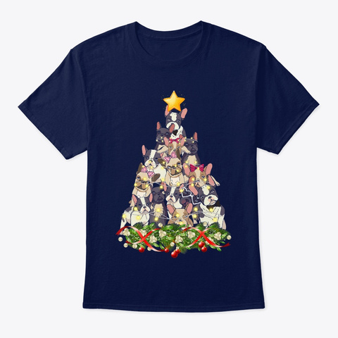 French Bulldog Dog Christmas Light Navy T-Shirt Front