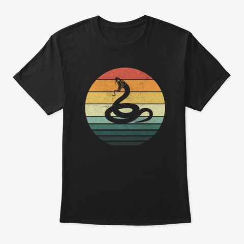 Snake Sunset Retro Vintage 70s Animal Black T-Shirt Front