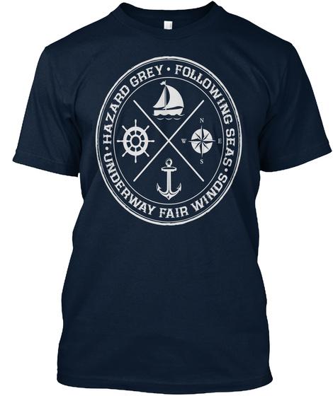Hazard Grey   Following Seas New Navy T-Shirt Front