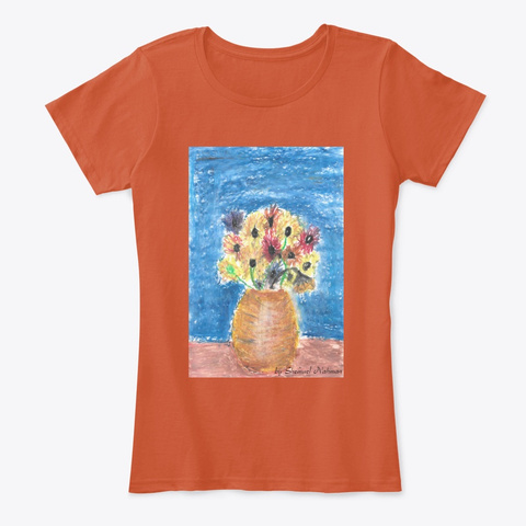 Shemuel's  Drawing Inspired By Van Gogh Deep Orange T-Shirt Front