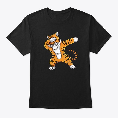 Funny Dabbing Tiger Print Perfect Black T-Shirt Front