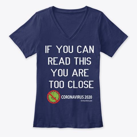 Coronavirus 2020 Warning  Navy T-Shirt Front
