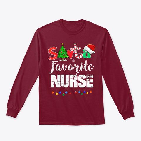 Santa's Favorite Nurse Christmas Shirt Cardinal Red T-Shirt Front