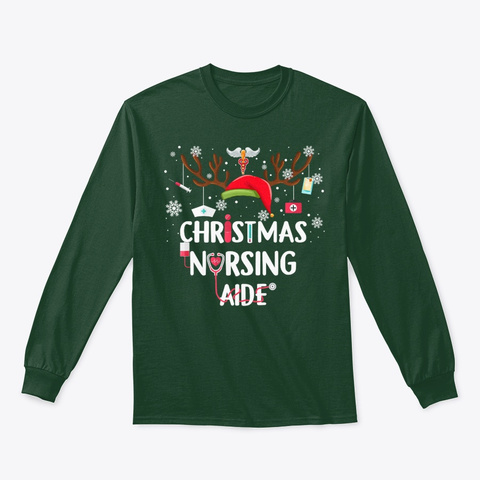 Christmas Nursing Aide Funny Xmas Forest Green T-Shirt Front