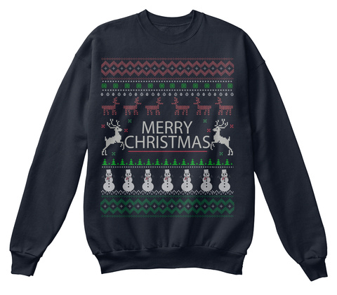 Merry Christmas French Navy T-Shirt Front