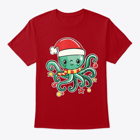 Octopus Funny Santa Claus Lover Shirt Deep Red T-Shirt Front