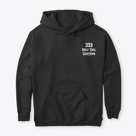 Half Evil Customs Hoodie Black T-Shirt Front