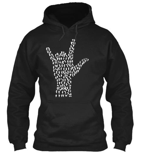 Asl American Sign Language Black Sweatshirt Front