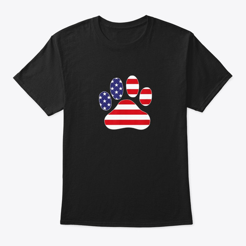 Patriotic Dog Paw Print For 4th Of July Black T-Shirt Front