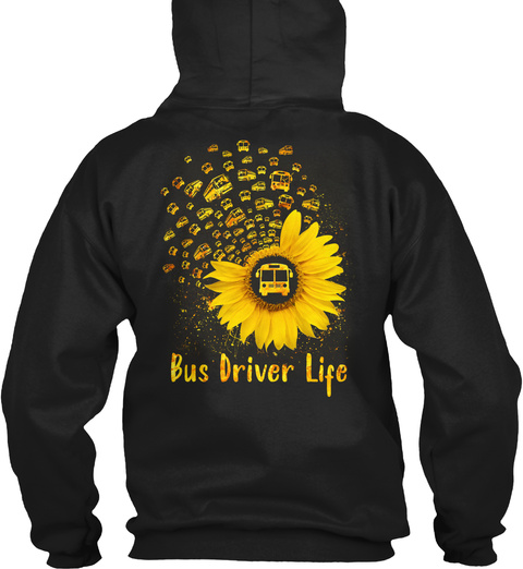 Bus Driver Life Black T-Shirt Back