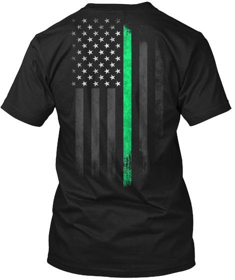 Alleman Family: Lucky Clover Flag Black T-Shirt Back