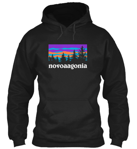 Novoa Family Hiking And Camping Black T-Shirt Front