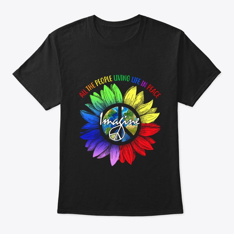All The People Living Life In Peace  Black T-Shirt Front