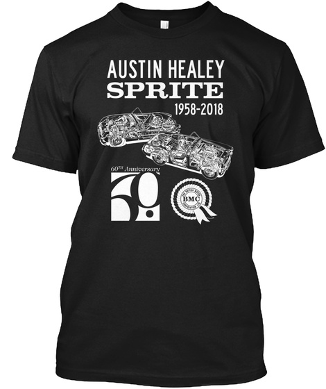Austin Healey Sprite 1958 2018 Black T-Shirt Front