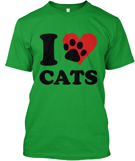I Love Cats Kelly Green T-Shirt Front