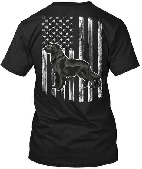 American Flag Flat Coated Retriever Gift Black T-Shirt Back